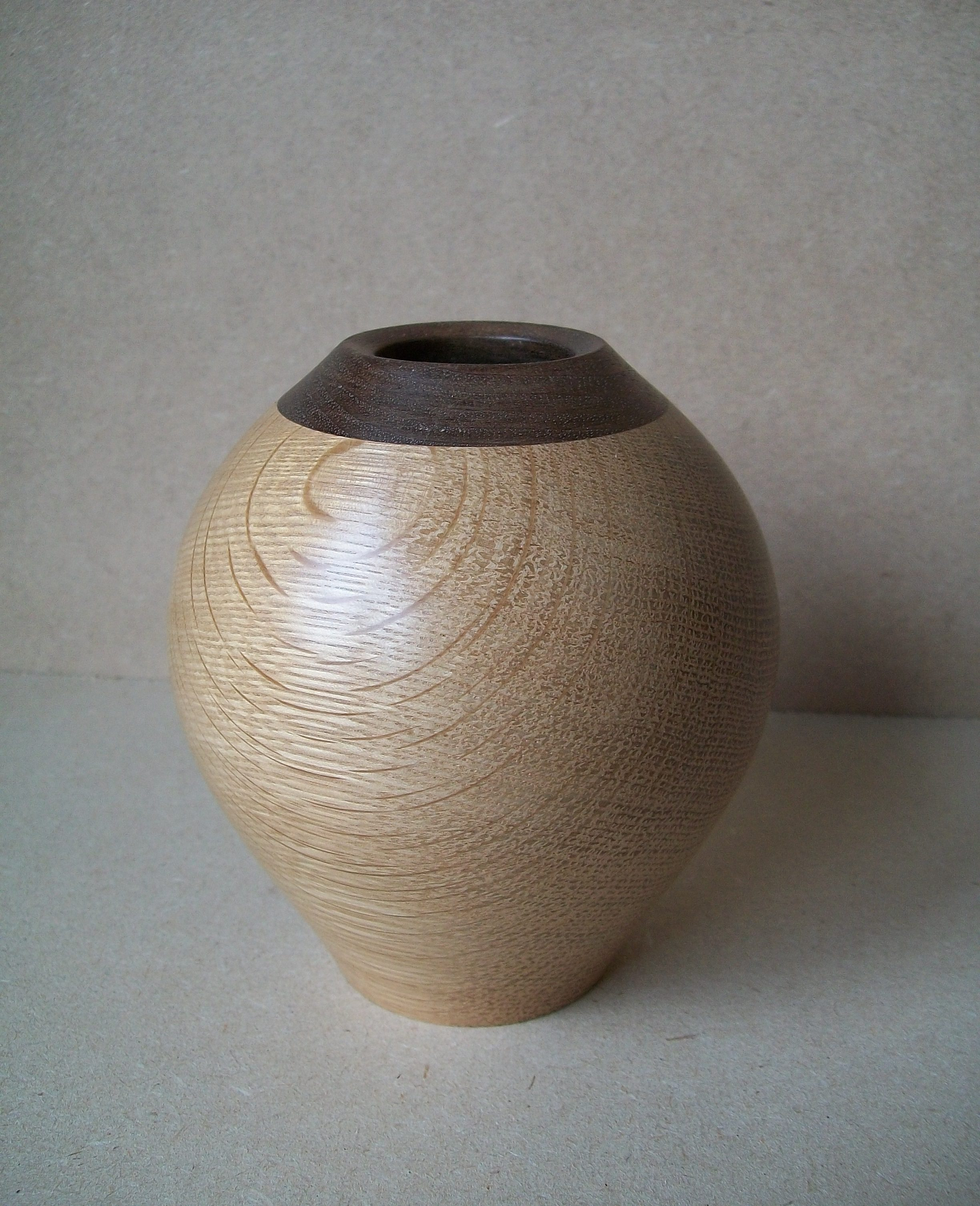 oak and walnut vase , oak, walnut, vase, hand turned, bespoke, custom made, Scottish, wedding gift, woodturning,