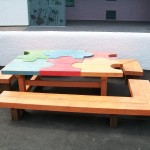 jigsaw table, friendship bench, Daliburgh school, gardens , garden furniture, sculpture, school playground, durable, outdoor furniture, bespoke, custom made,