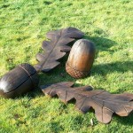 outdoor sculpture, acorn sculpture, garden sculpture, hand carved, bespoke carving, custom made carving,acorns, oak leaves,