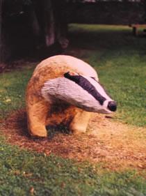 badger , hand carved, sculpture, school playground, school garden , gardens , solid oak, Scotland, friendship bench, bespoke, custom made,
