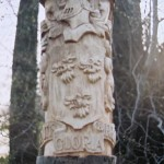 hand carved, coat-of-arms, outdoor sculpture , Family-Crest, Scottish carving, bespoke carving, custom carving,