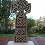 celtic cross, sculpture, hand carved, bespoke, custom made, oak, Scottish, celtic knotwork,