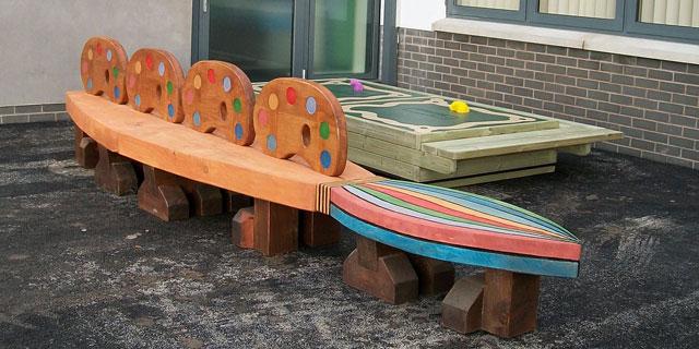 paint brush seat , school playground, friendship seat, friendship bench, school bench, outdoor seat, school furniture, bespoke, custom made,