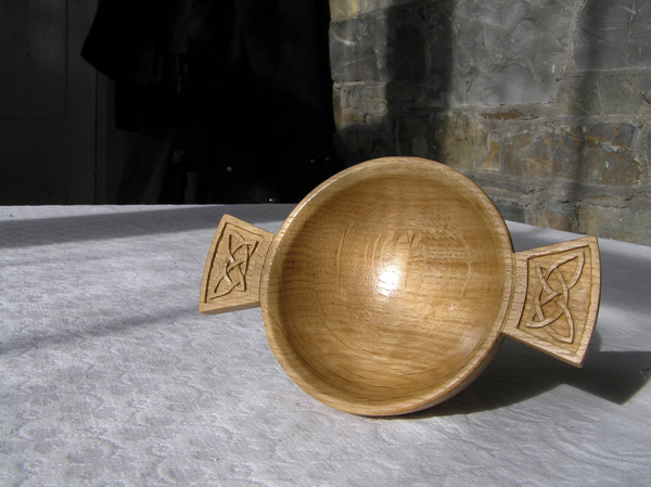 quaich, traditional style, hand carved, solid oak, celtic design, custom made, hand made, bespoke, Scottish, wedding gift,