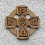 celtic cross, celtic knotwork, roundel ,solid oak, celtic design, hand carved, sculpture, knotwork, carving, bespoke, custom made,