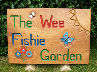 Garden sign, wee fishie, oak, hand carved, hand painted, school garden, bee, butterfly, flowers, custom made, bespoke,