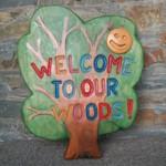 welcome sign, hand carved, solid oak, school playground, garden, sign, friendship garden, bespoke, custom made,