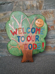 welcome sign, hand carved, solid oak, school playground, garden, sign, friendship garden, bespoke, custom made,