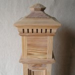 square section, newel post cap, specialist joinery, reclaimed pine, oak