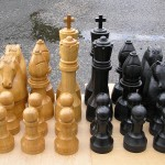 outdoor chess set, chess sets, solid oak, bespoke, custom made, oak, Scottish, traditional style, outdoor chess,