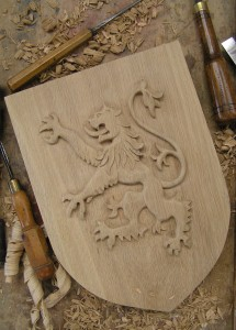 MacDuff Shield in progress, oak,hand carved,