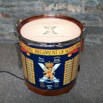 Presentation Drum Table, military presentation, bespoke, custom made, Scottish, repurposed drum,floor lamp,