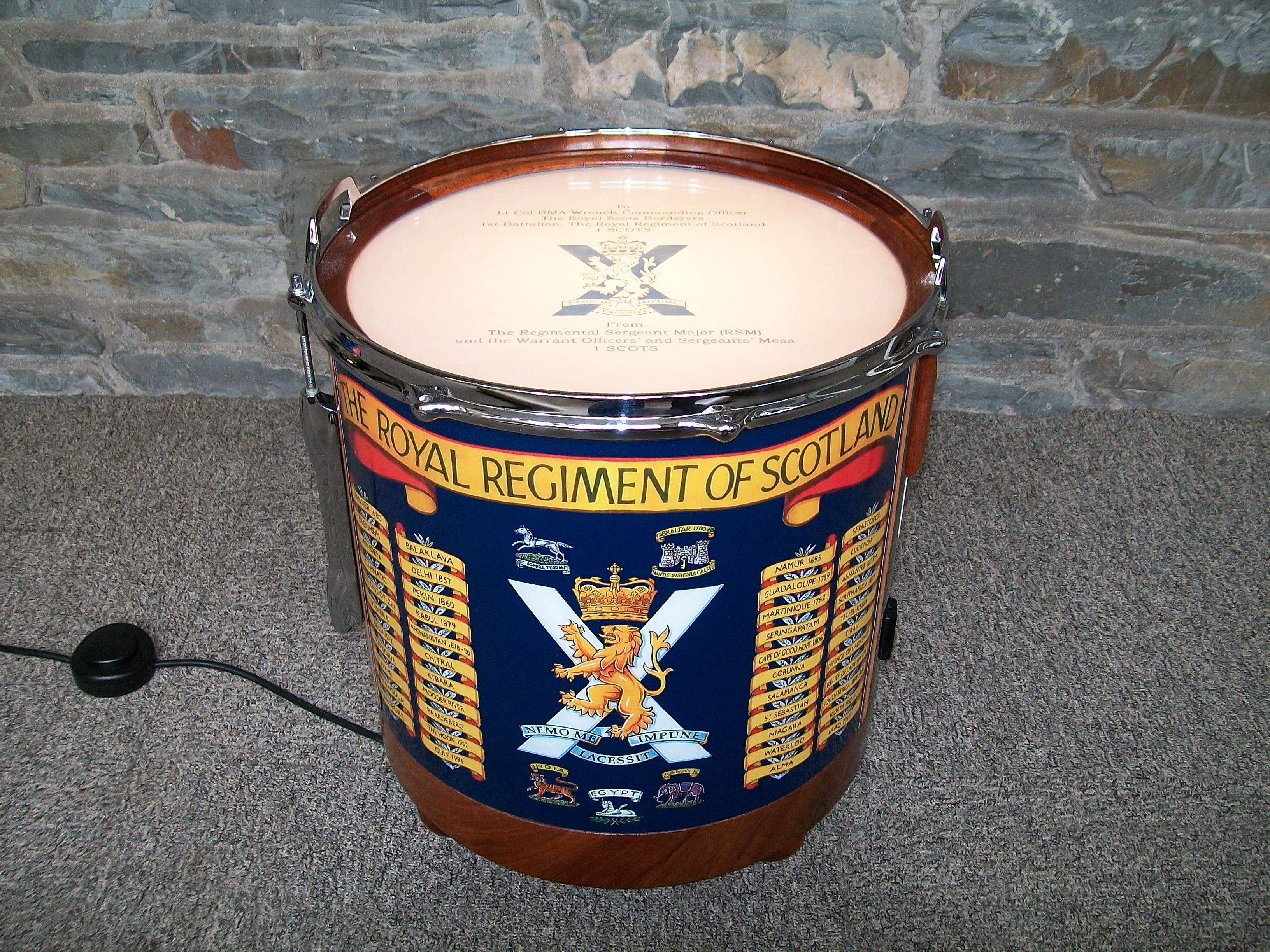 Presentation Drum Table, military presentation, bespoke, custom made, Scottish, repurposed drum,floor lamp,