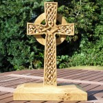 small celtic cross ,celtic knotwork cross, oak, hand carved, celtic design, Scottish, celtic knotwork carving, bespoke, celtic cross, custom made,