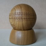 laburnum, hand carved, woodturning, cricket ball, trophy, award,