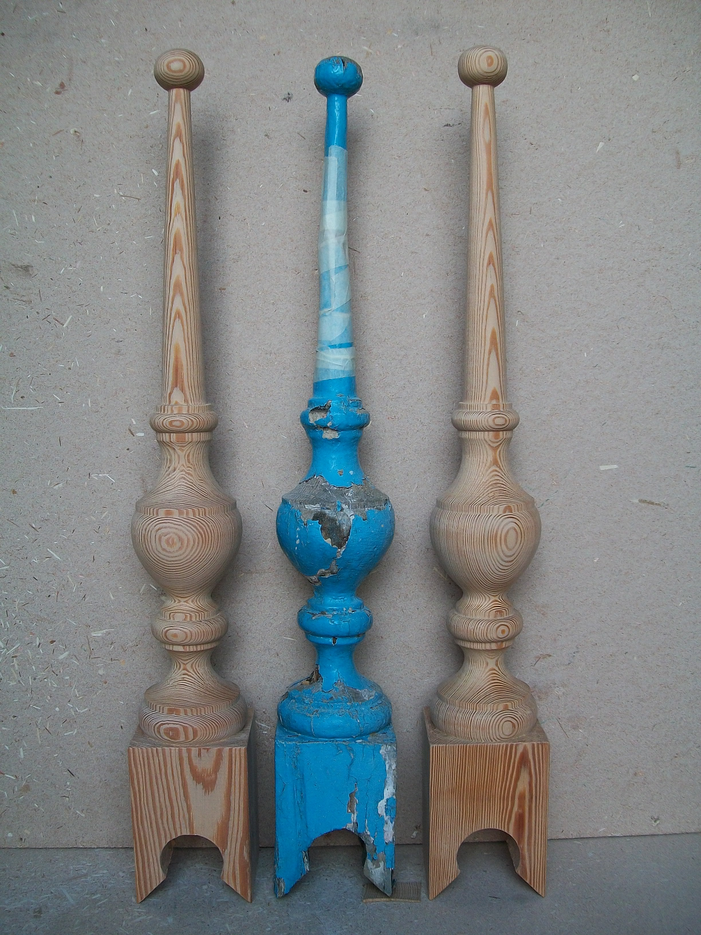 restoration, reclaimed, pitch pine, roof, finial, hand carved, Victorian, replacements, woodturning, woodturner, Scotland