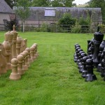 outdoor chess set ,traditional, outdoor chess, custom made, chess set, chess sets, oak, hand carved, Made in Scotland, bespoke, Scottish, wood turner.