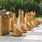 outdoor chess, Scottish, medieval, sculpture, chess sets, garden game, hand-made, woodturning, bespoke, custom made,