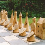 clan theme ,outdoor chess, chess sets, Scottish, medieval, sculpture, garden game, hand-made, woodturning, bespoke, custom made,
