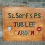 Jubilee garden sign , school playground, garden sign, oak, hand-carved, hand-painted, friendship garden, friendship bench,