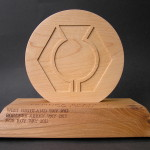 way trophy , walking trophy , walking award, hand made, elm, sycamore, Scottish,West Highland Way, bespoke, special, trophy, award,