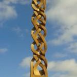 celtic knotwork column, celtic, knotwork, column, bespoke, custom-made, hand carved, Scottish, Oak, outdoor sculpture,