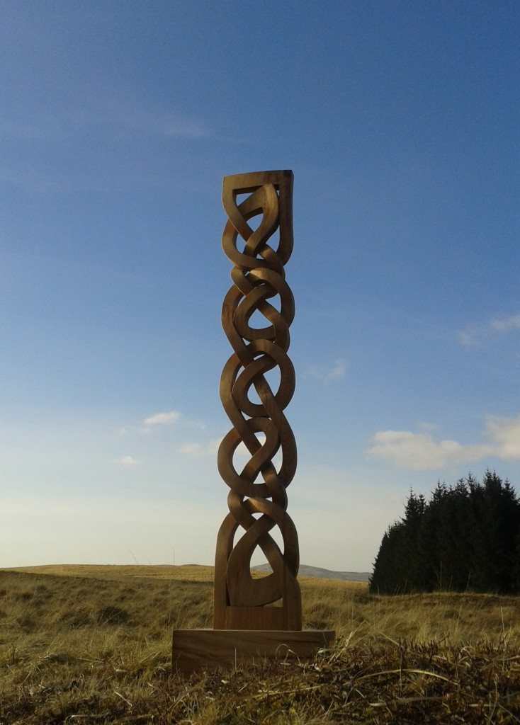 hand carved, oak,celtic knotwork carving, oak sculpture, outdoor sculpture, celtic knotwork, knotwork column, Scottish,