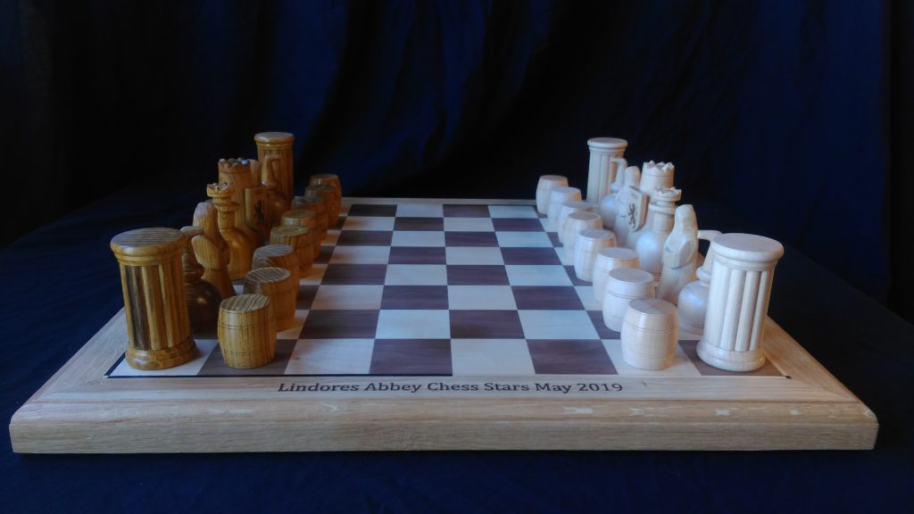 bespoke, custom made, chess set, hand carved, special design, Scottish oak, laburnum, maple, walnut,engraved board, Lindores Abbey Chess Stars Tournament,