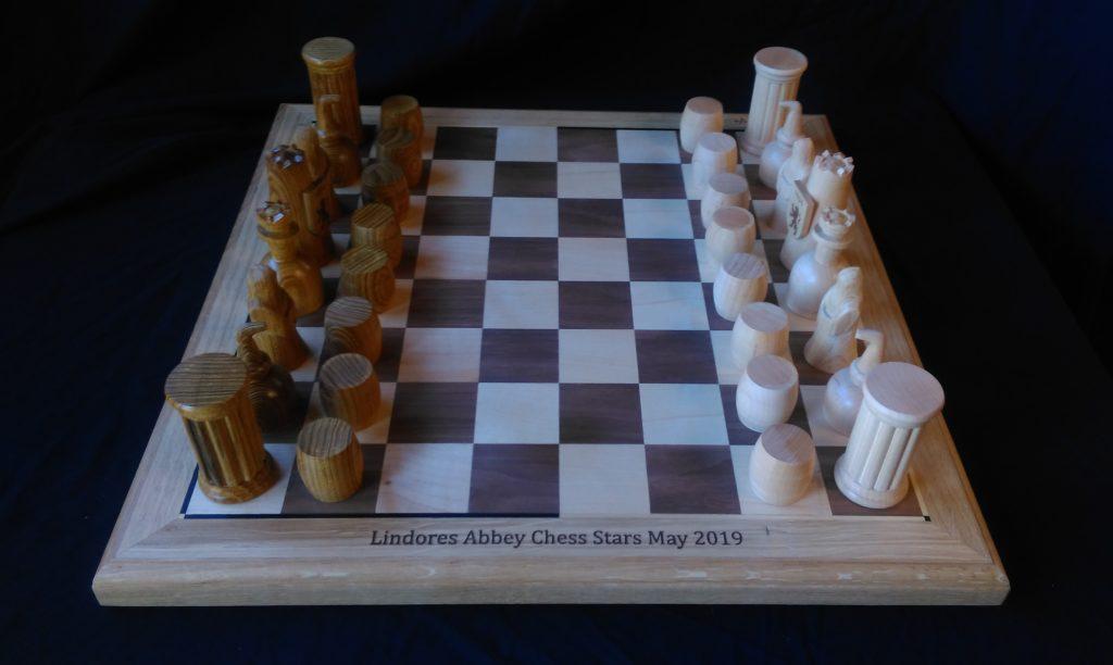 bespoke, custom made, custom design, Scottish hardwood, oak,laburnum, maple,hand carved, hand turned,Lindores Abbey Chess Stars Tournament,