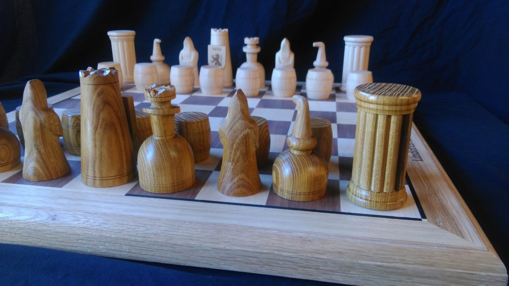 custom design, custom made , bespoke, chess set, Scottish oak, laburnum, maple, hand carved, hand turned,Lindores Abbey Chess Stars Tournament