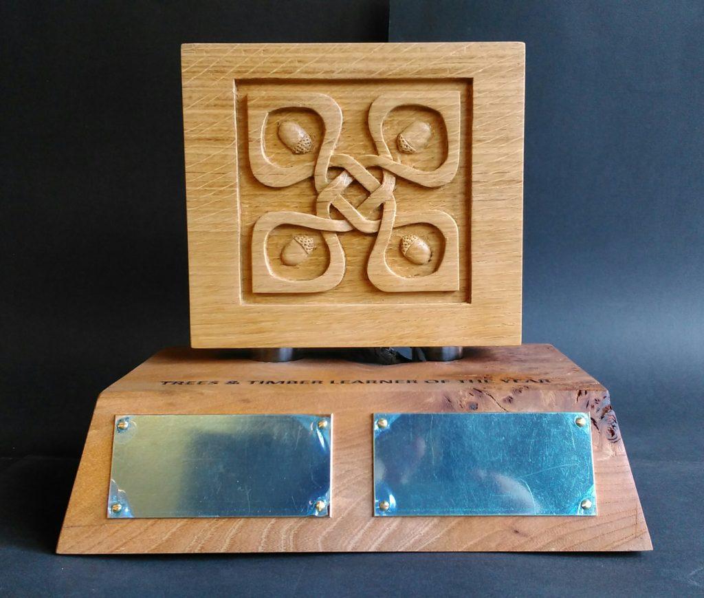 custom trophy, bespoke design, hand carved, oak, knotwork design,