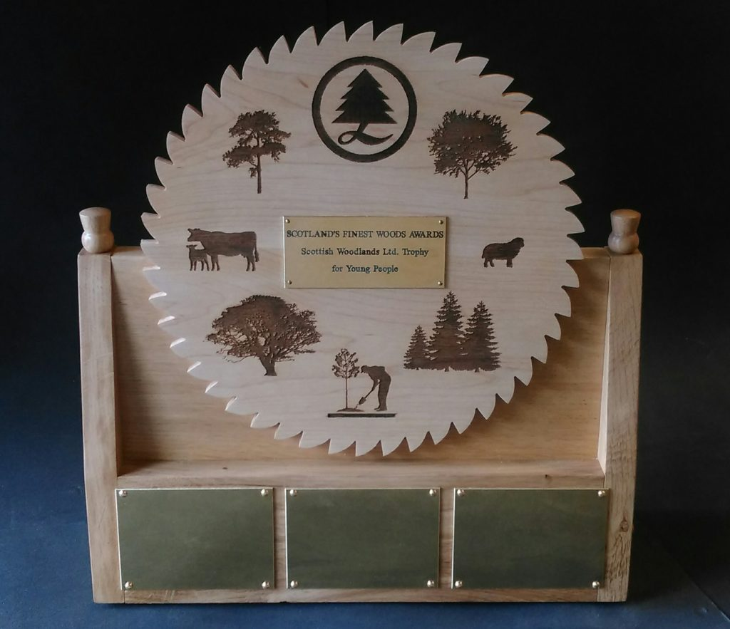 custom made trophy, bespoke trophy, custom designed , oak, maple, laser etched images, Scottish,