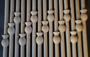stair spindles, spindles, thistle decoration, thistle, Scottish, oak, bespoke, custom design , hand made, modern design,